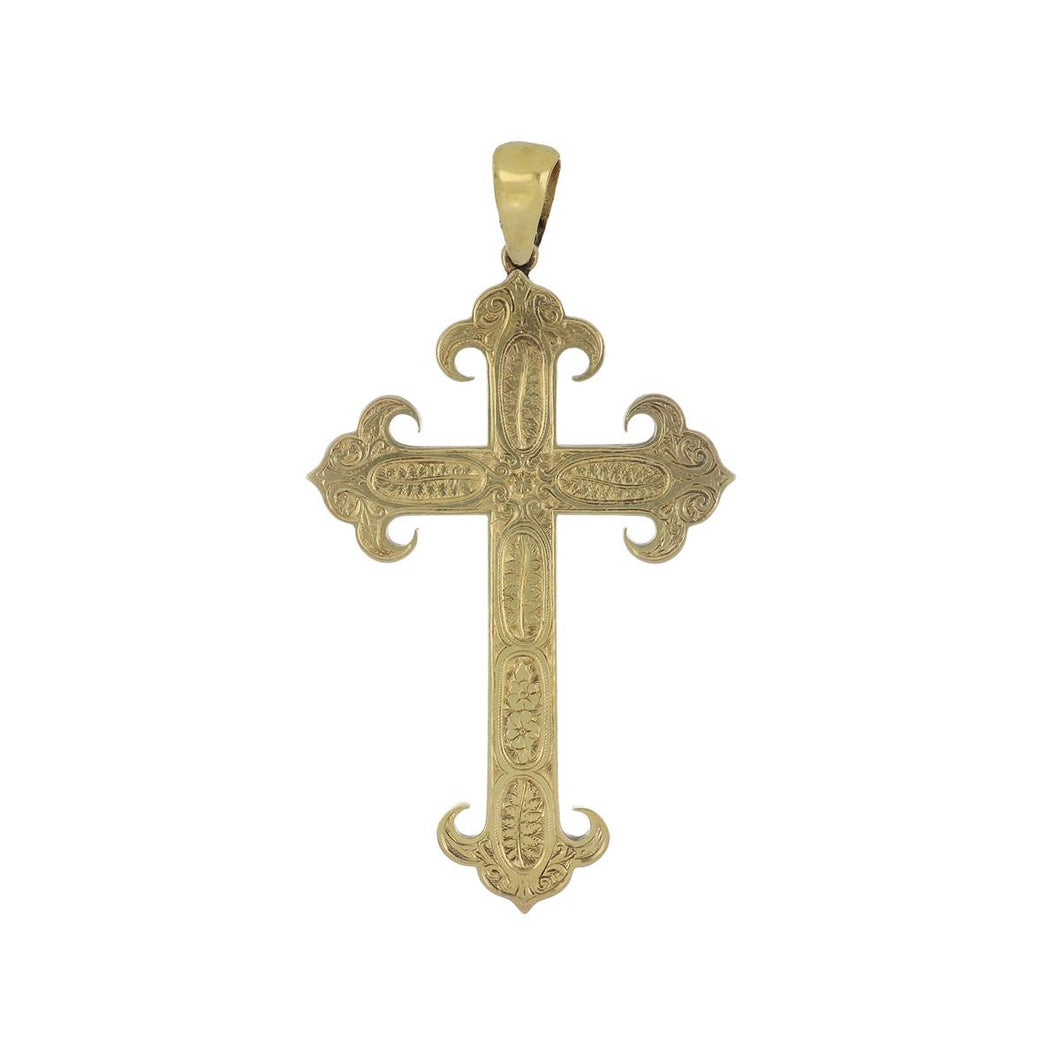 Estate 14K Gold Hand Engraved Cross Pendant