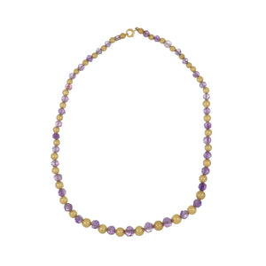Estate 14K Gold Estruscan Bead & Amethyst Necklace