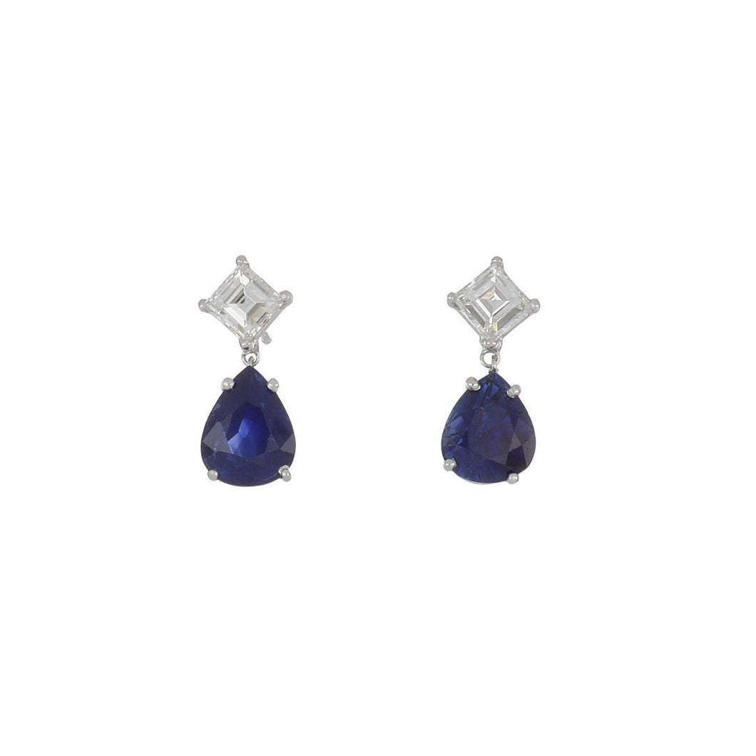 Estate 18K White Gold Pear Shape Sapphire and Diamond Drop Earrings