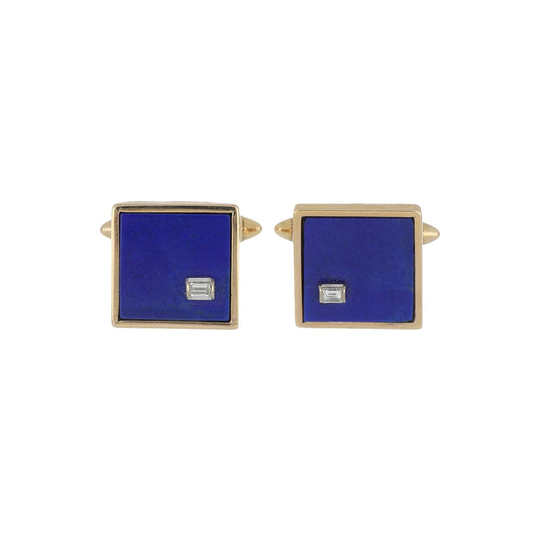 Estate 14K Gold Lapis and Diamond Cufflinks
