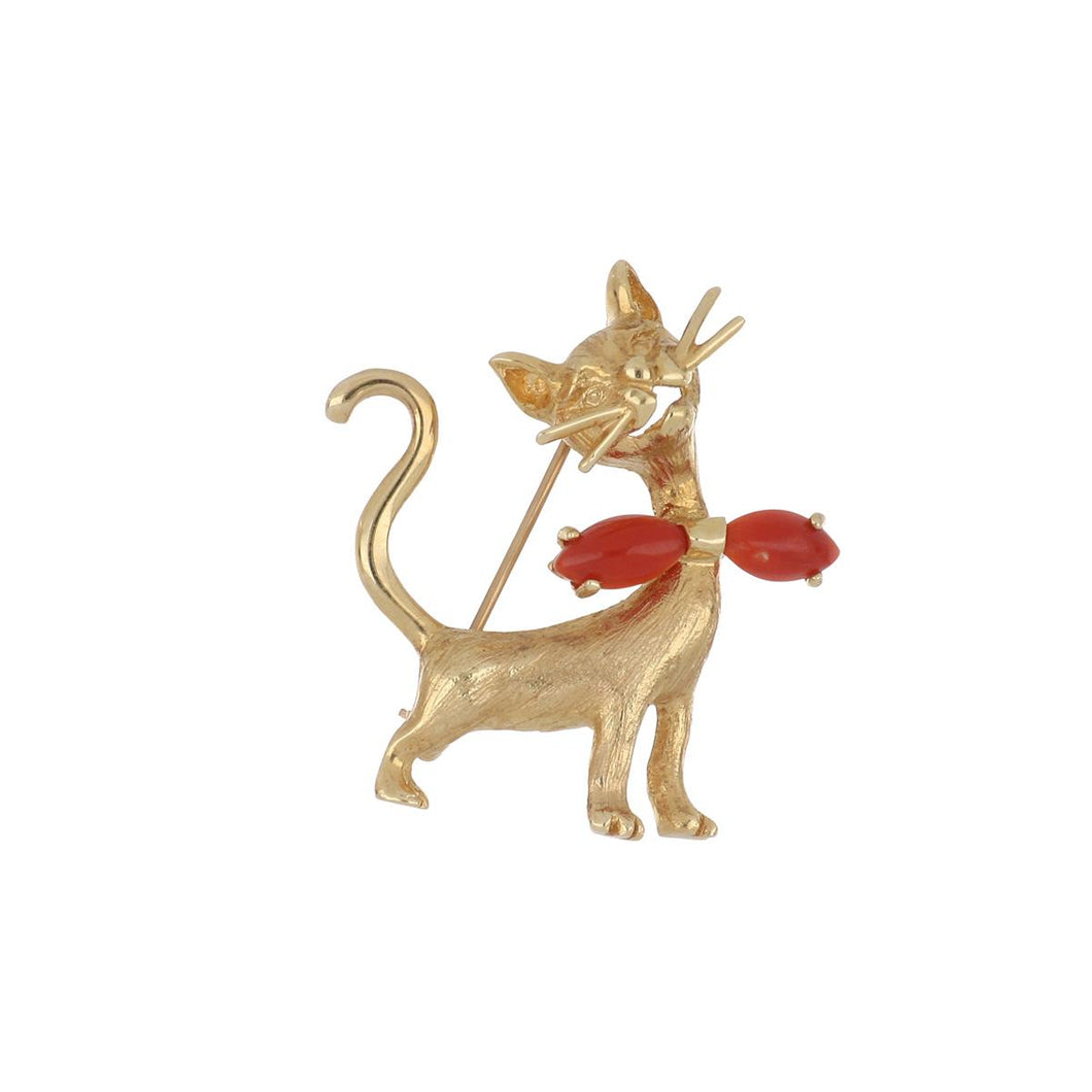 18K Gold Cat Brooch with Coral Accents