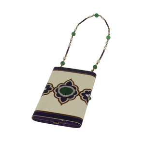 Art Deco Cartier 14K Gold Enameled Compact with Carved Jade, Pearls and Diamonds