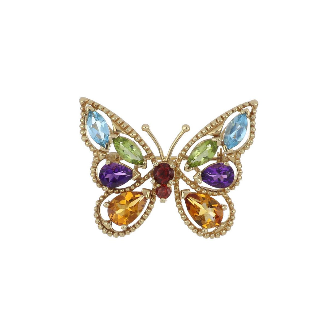 14K Gold Multi-Gemstone Butterfly Pin