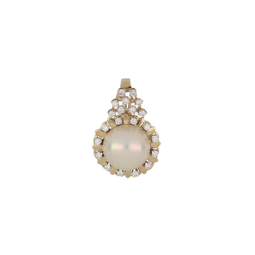 Estate 14K Gold Mabé Pearl and Diamond Pendant