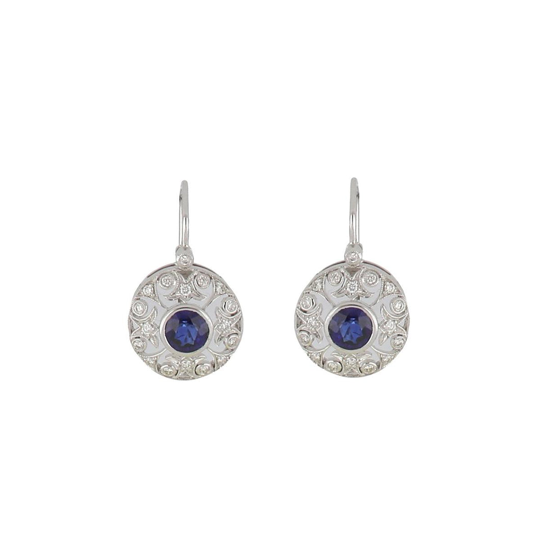 Estate Art Deco Style 14K White Gold Openwork Circular Sapphire and Diamond Earrings