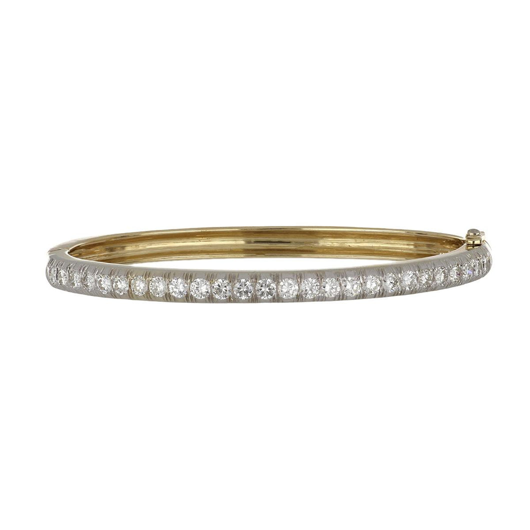 Estate 14K Two-Tone Gold Diamond Bangle Bracelet