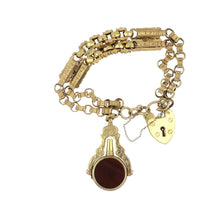 Load image into Gallery viewer, Antique English Victorian 9K Gold Heart Padlock Bracelet with Bloodstone and Carnelian Watch Key Fob