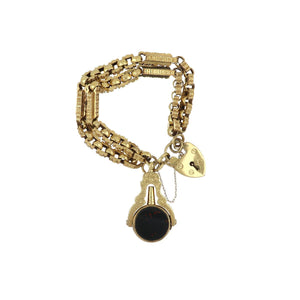 Antique English Victorian 9K Gold Heart Padlock Bracelet with Bloodstone and Carnelian Watch Key Fob