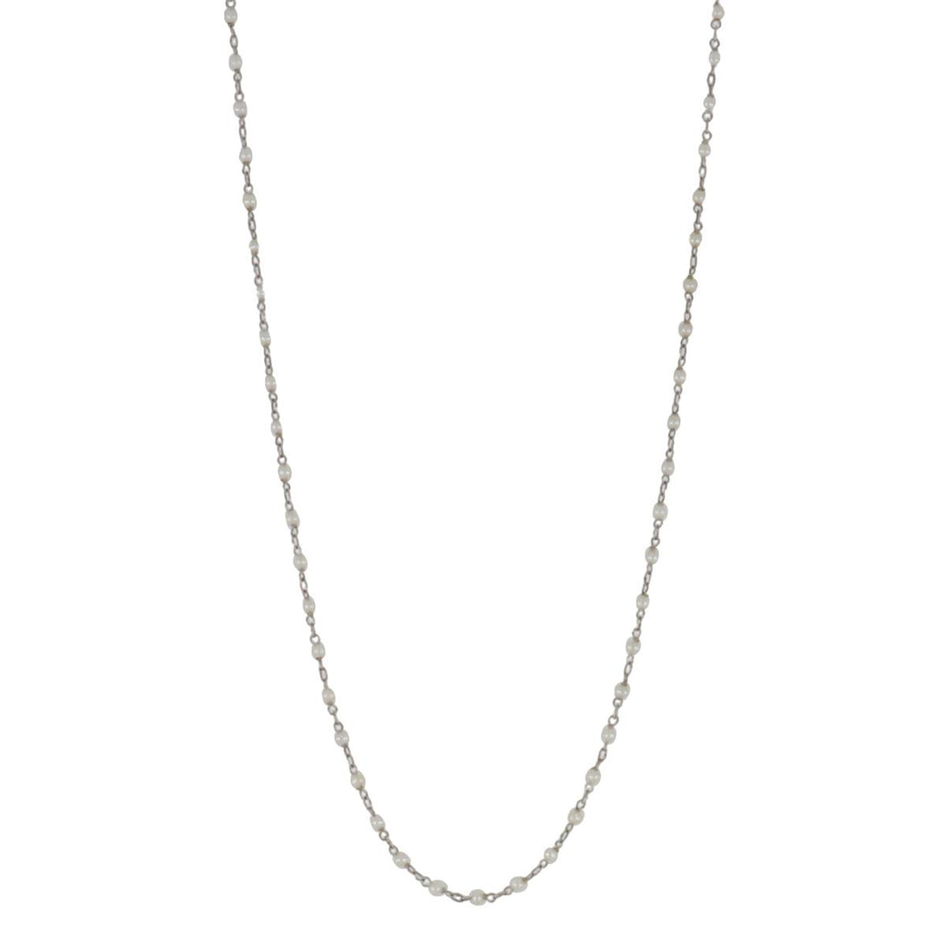 18K White Gold and White Pearl Chain Necklace