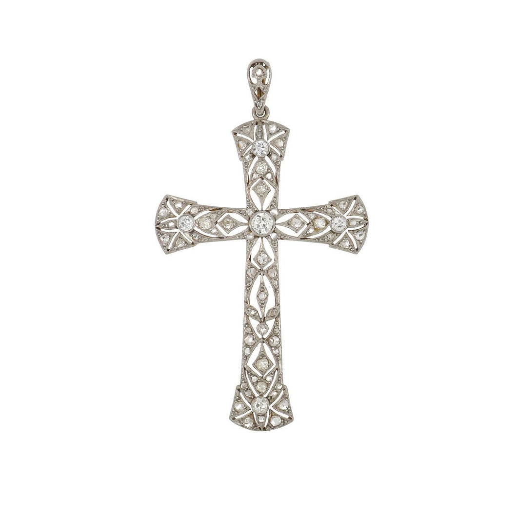 Antique Edwardian Platinum and 18K Gold Openwork Diamond Cross