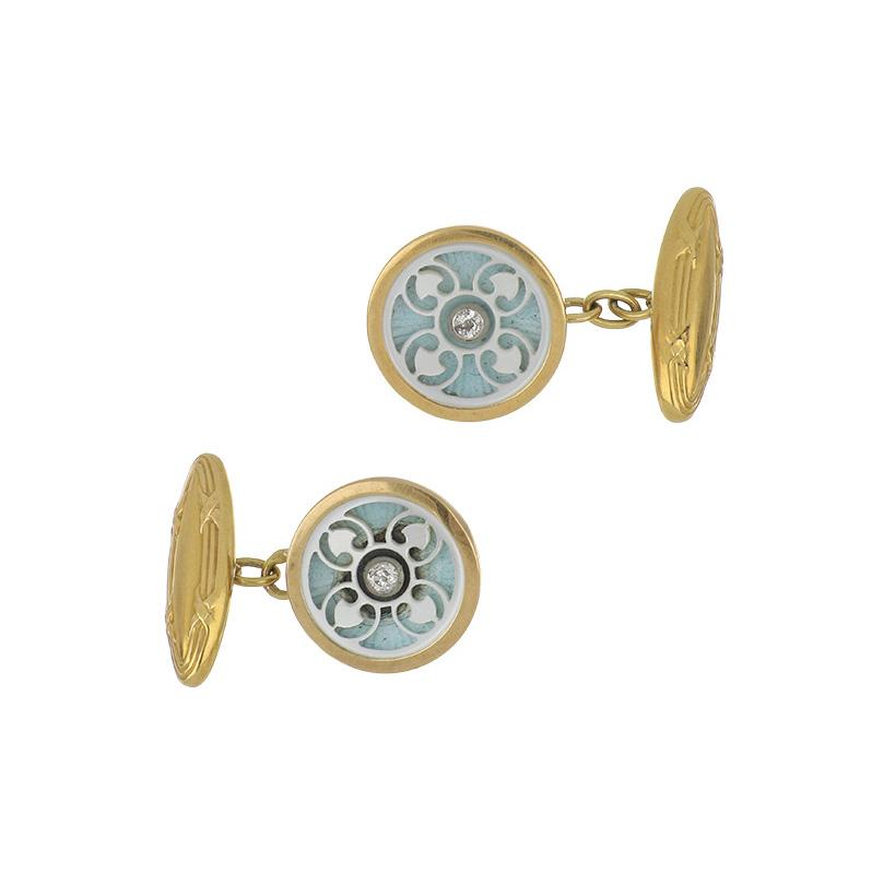 Edwardian 18K Gold Carved Mother-of-Pearl and Enamel Cufflinks with Diamonds