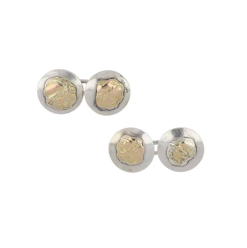 Edwardian Shiebler Sterling Silver and 14k Gold Round Cufflinks