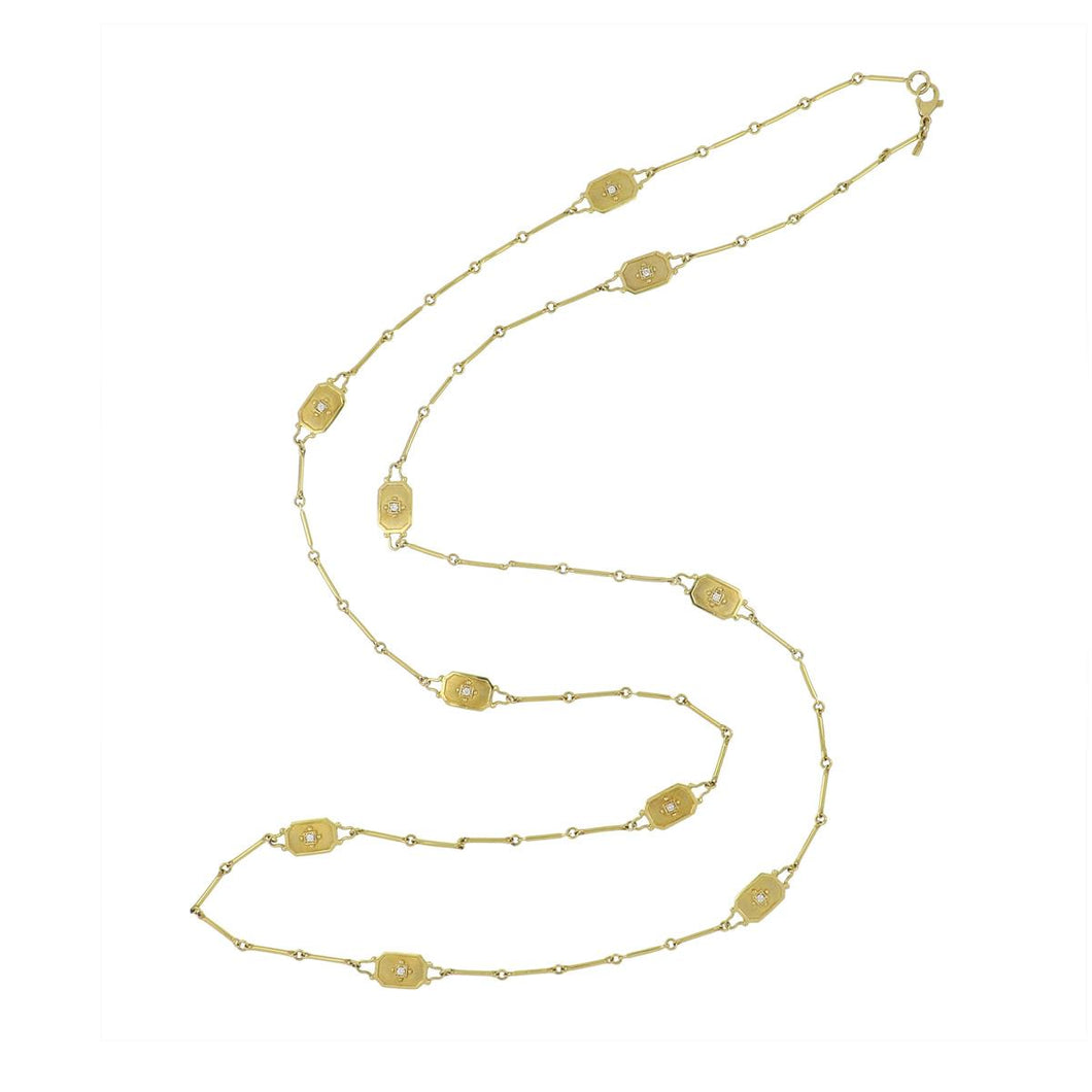14K Gold Long Necklace with Diamond Stations