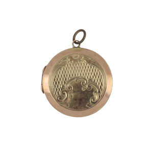 Antique English Edwardian 9K Rose Gold Back/Front Round Locket with Engraving