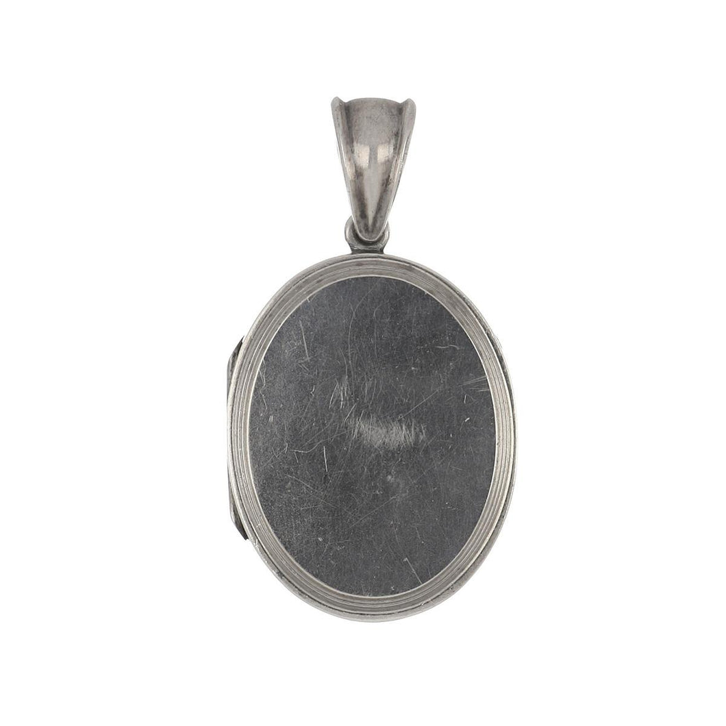 Antique Edwardian Silver High Polish Oval Locket