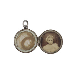English Edwardian Sterling Silver Round Textured Locket
