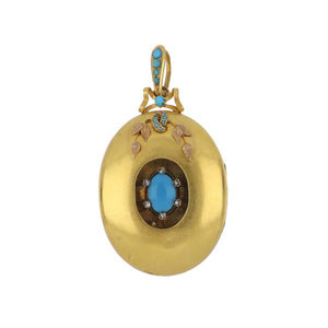 Victorian 18K Gold Oval Locket with Turquoise and Diamond