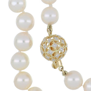 Estate 18K Gold Cultured Pearl Necklace with Diamond Ball Clasp
