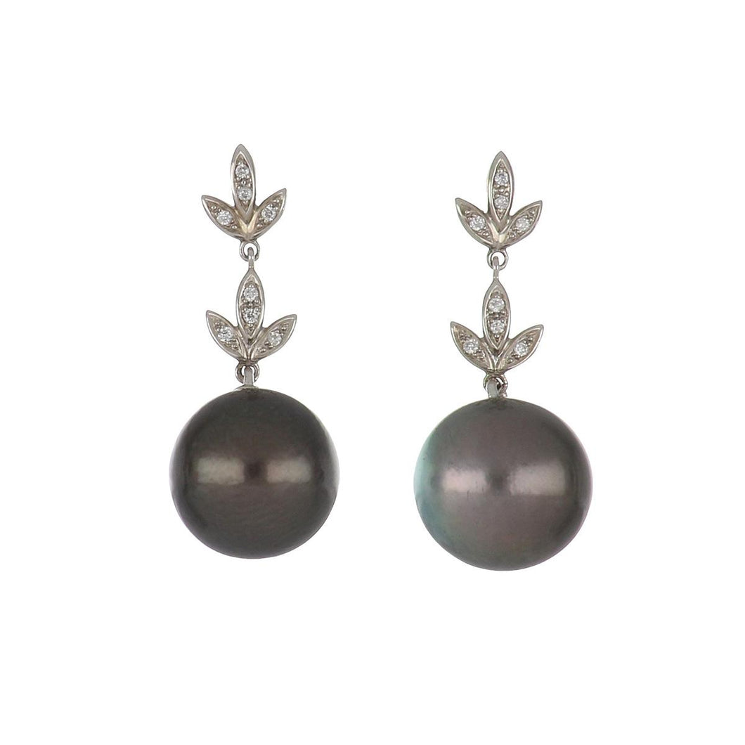 Estate 14K White Gold Tahitian Pearl Drop Earrings with Diamond Leaf Tops