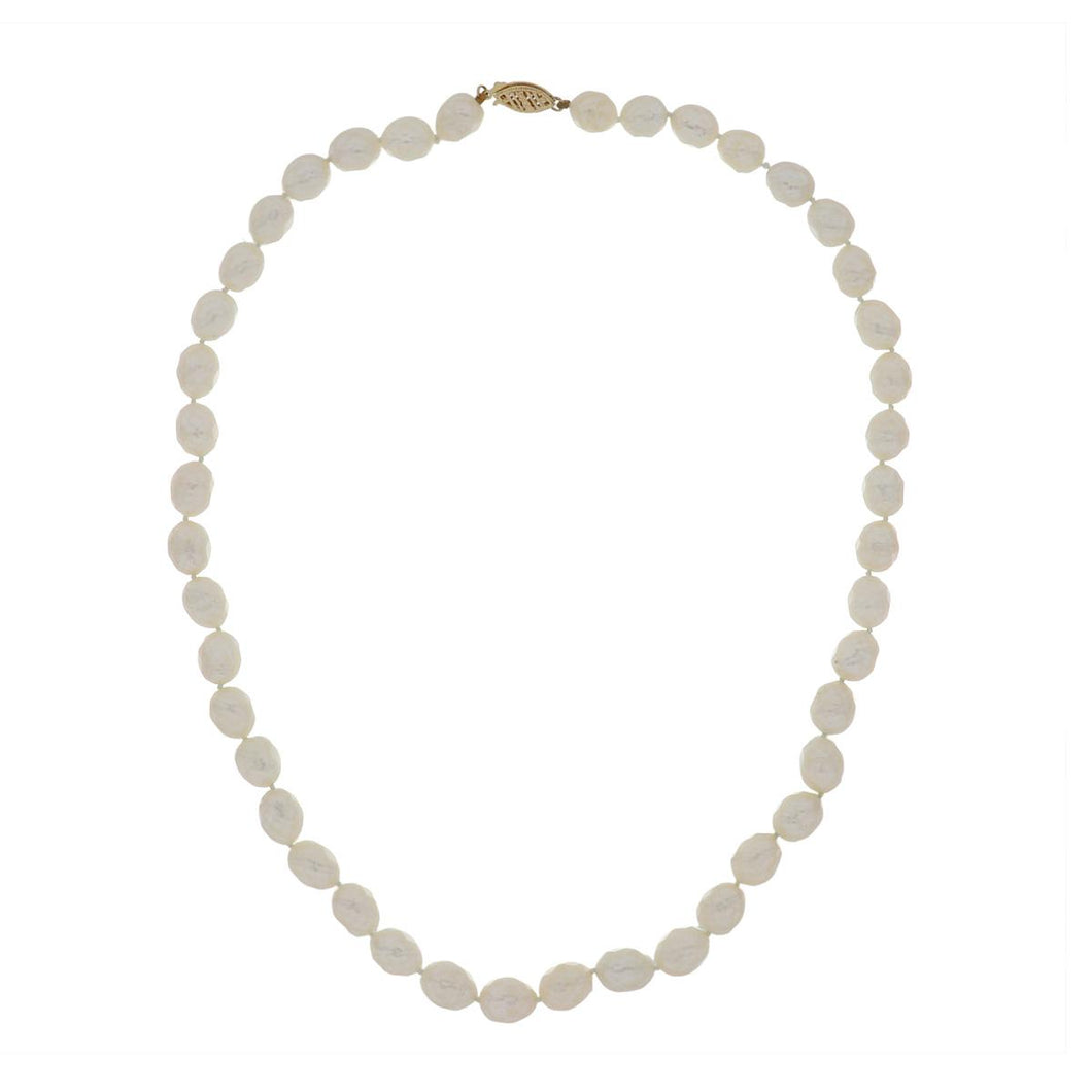 14K Gold Faceted Cultured Pearl Necklace