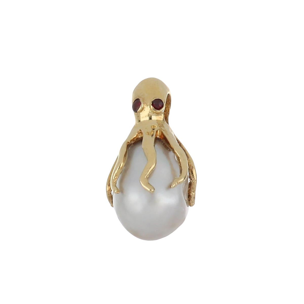 Estate 14K Gold Octopus Cultured Baroque Pearl Pendant with Rubies