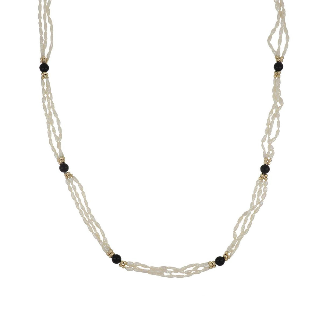 Estate 14K Gold Triple Strand Rice Pearl Necklace with Black Onyx Beads