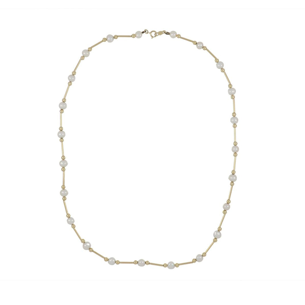 Estate 14K Gold Necklace with Pearls and Gold Accent Beads