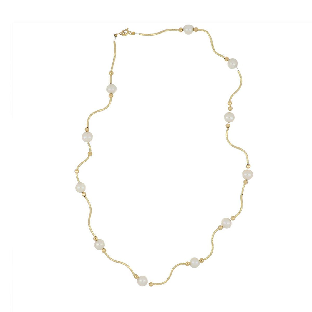 Estate 14K Gold Necklace with Freshwater Pearls and Gold Bead Accents
