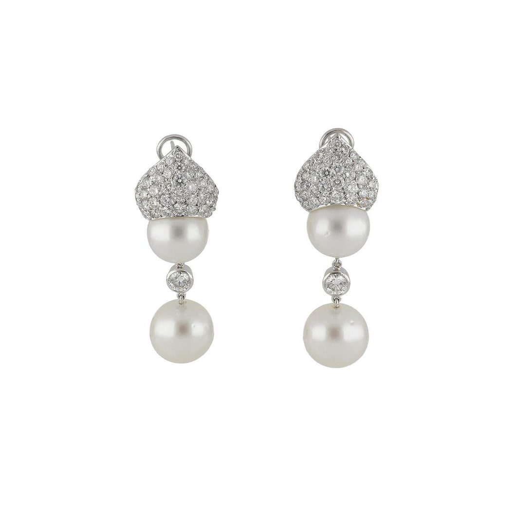 14K White Gold South Sea Pearl Drop Earrings with Diamonds