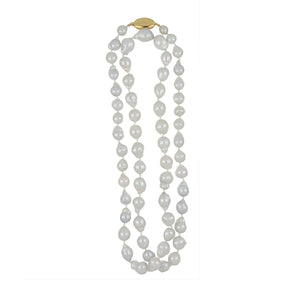 Estate 18K Gold Silver-White Baroque South Sea Pearl Necklace