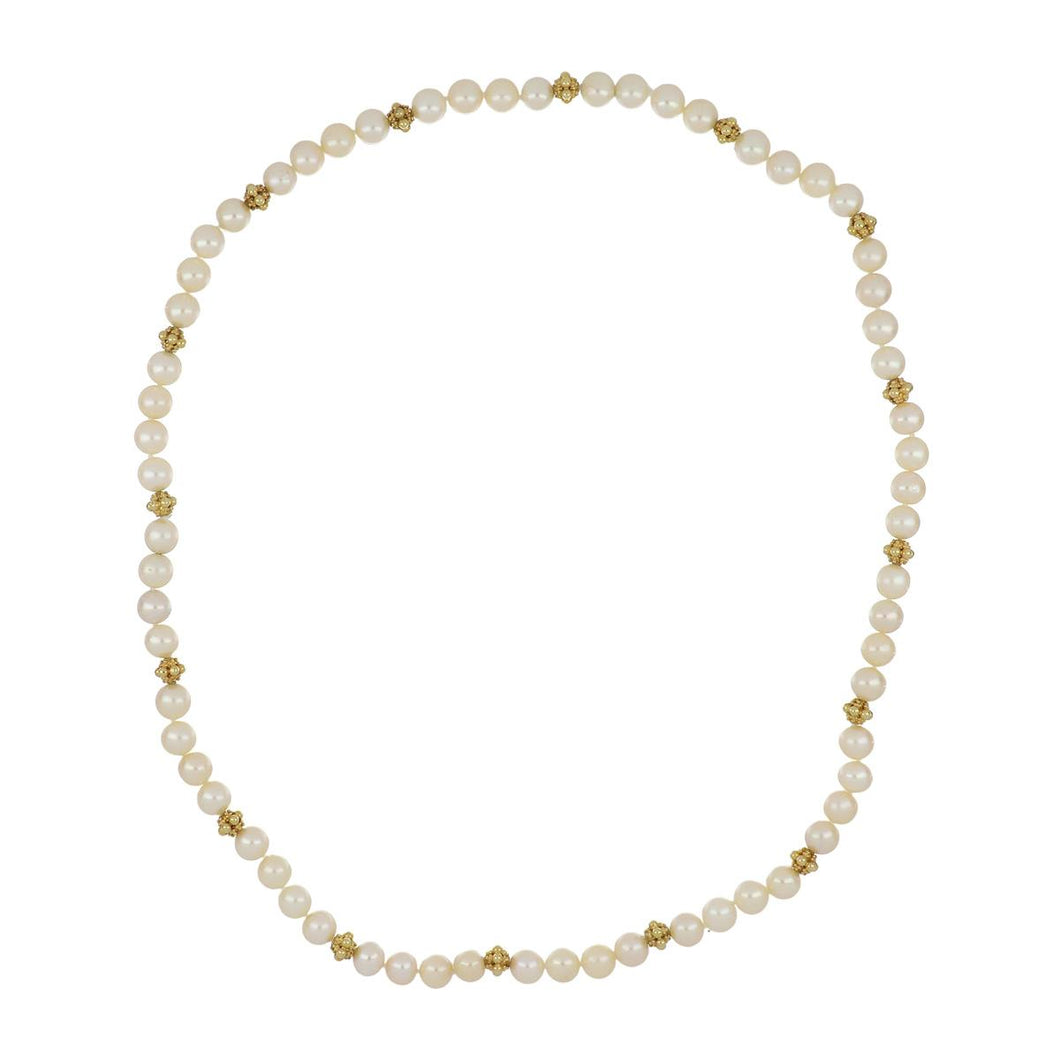 Estate Akoya Pearl Necklace/Bracelet with 18K Gold Rondelles