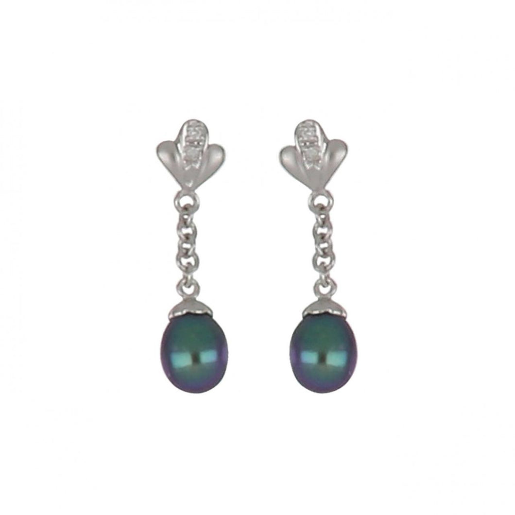Estate 18K White Gold Black Pearl Drop Earrings