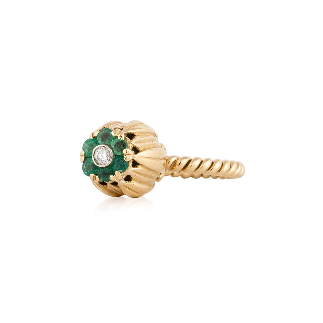 Vintage 1980s 18K Gold Emerald and Diamond Tulip Ring