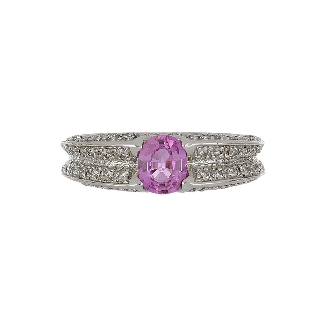 Estate 14K White Gold Oval Pink Sapphire and Diamond Ring