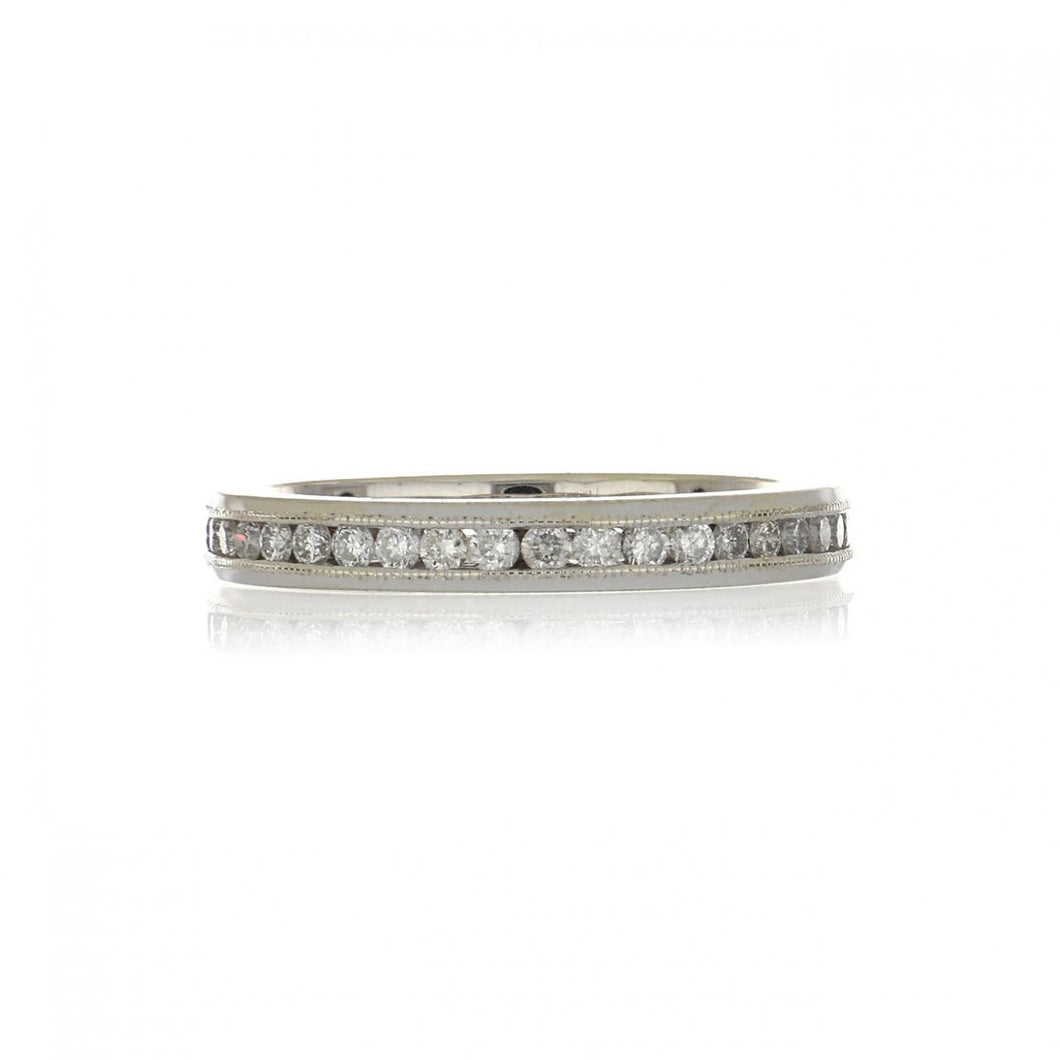 Estate 18K White Gold Channel-Set Diamond Eternity Band