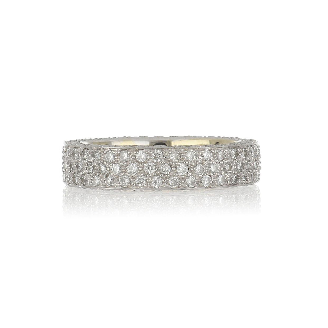 Estate 18K White Gold Three-Row Pavé Diamond Band