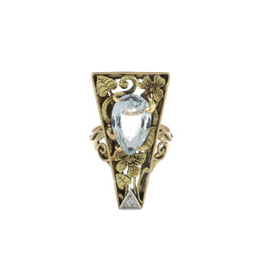 Arts and Crafts 14K Gold Floral Plaque Ring with Aquamarine and Diamond