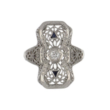 Load image into Gallery viewer, Art Deco 14K White Gold Filigree Ring with Diamond and Sapphires