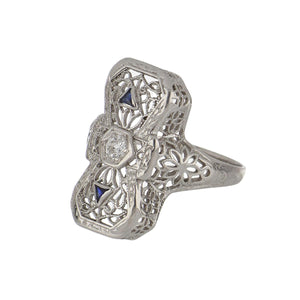 Art Deco 14K White Gold Filigree Ring with Diamond and Sapphires
