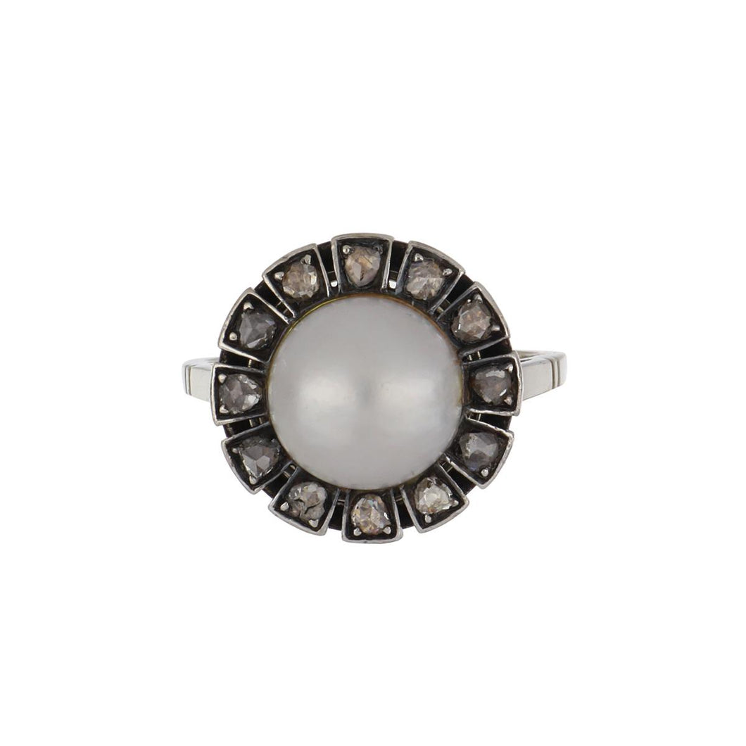 Art Deco Cultured Mabé Pearl Ring