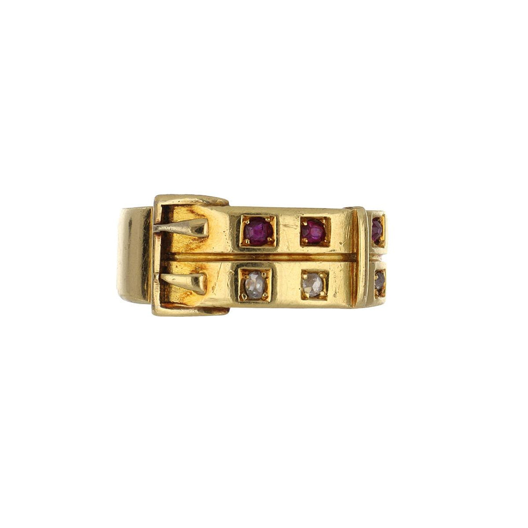 Antique English Victorian 18K Gold Ruby and Rose-Cut Diamond Buckle Ring