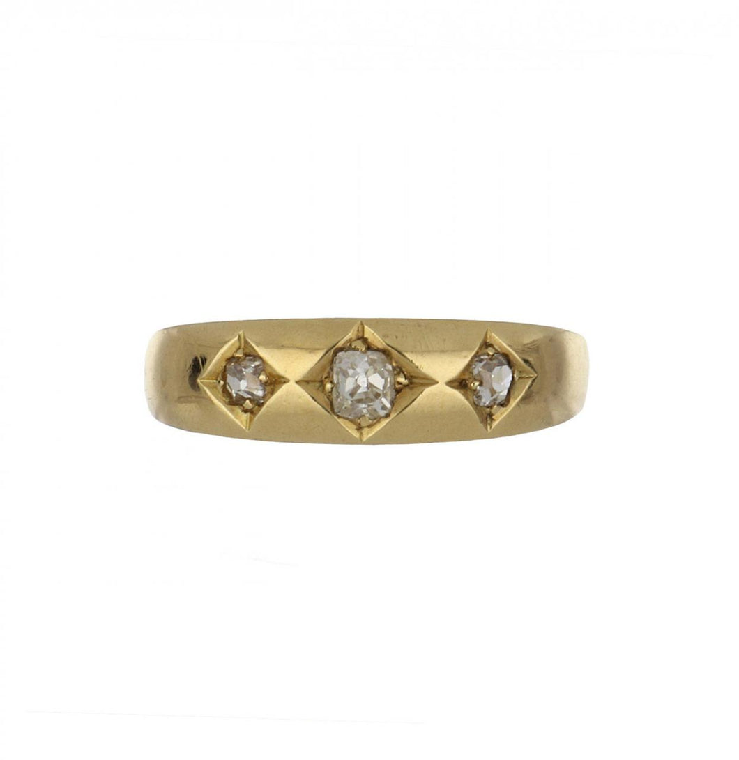 Antique Victorian 18K Gold Band with Three Old Mine-Cut Diamonds