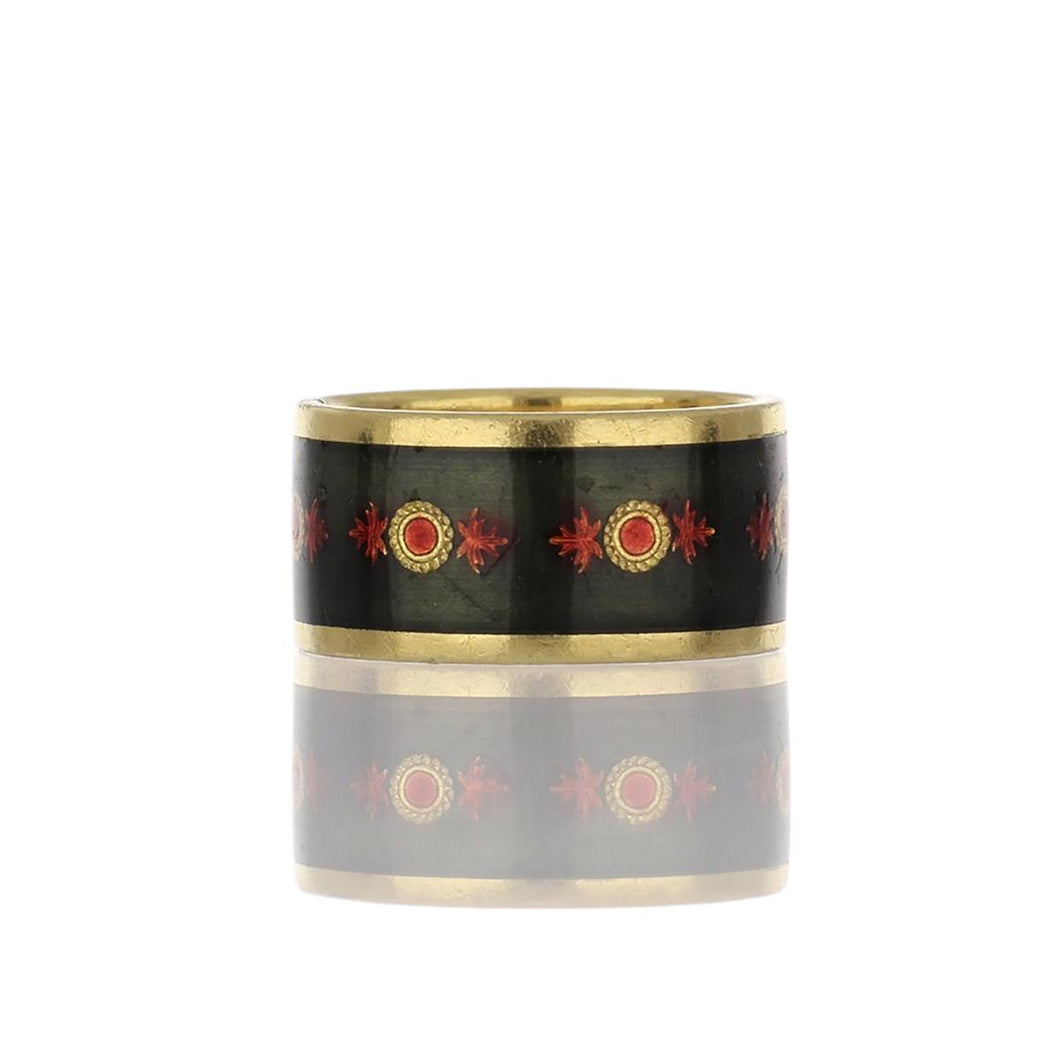 Estate 18K Gold Green and Red Enamel Floral Band
