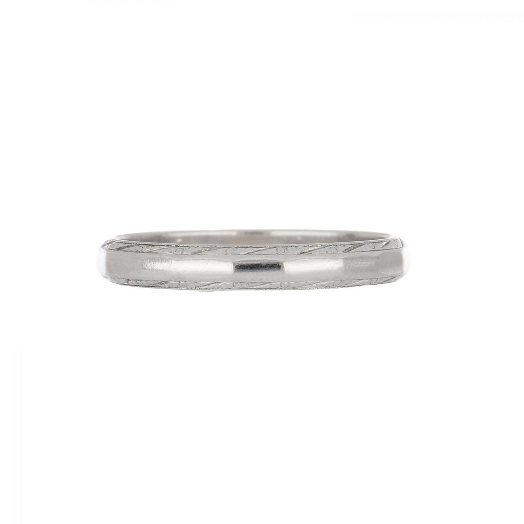 Art Deco 18K White Gold Faceted Wedding Band