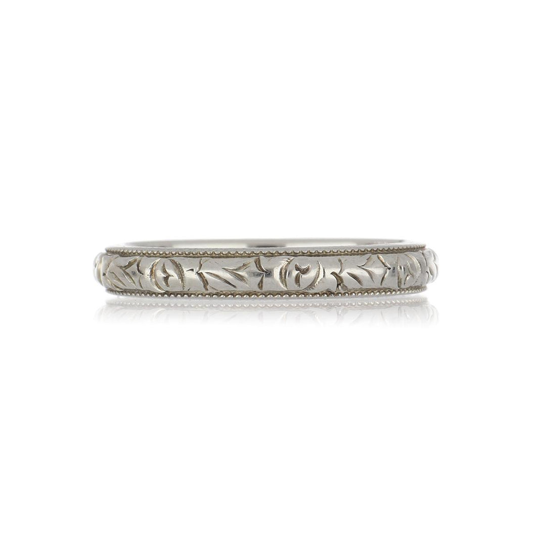 Art Deco 18K White Gold Floral Band