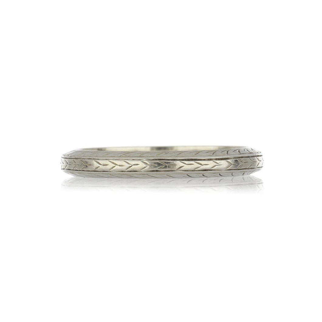 Art Deco 18K White Gold Band with Wheat Pattern