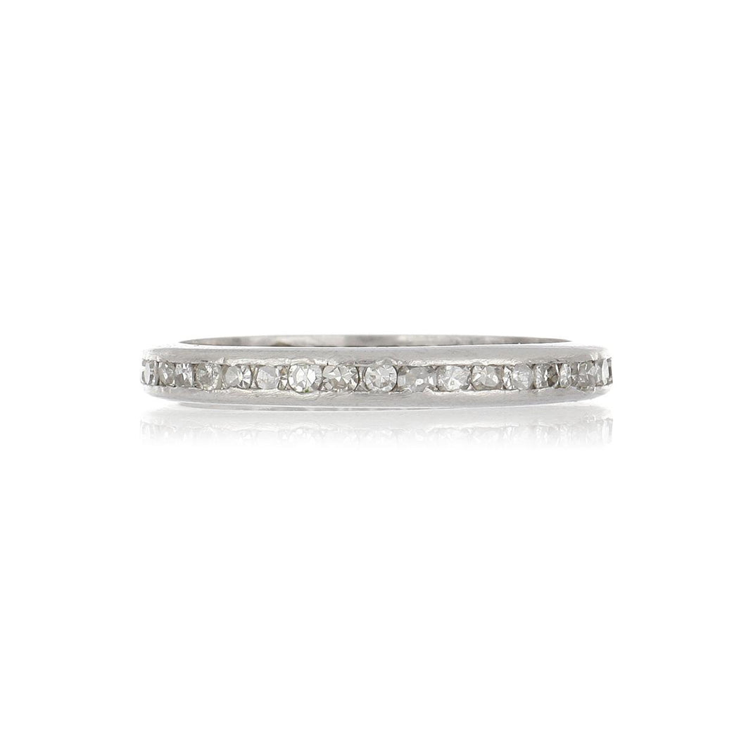 Art Deco Platinum Channel-Set Diamond Eternity Band