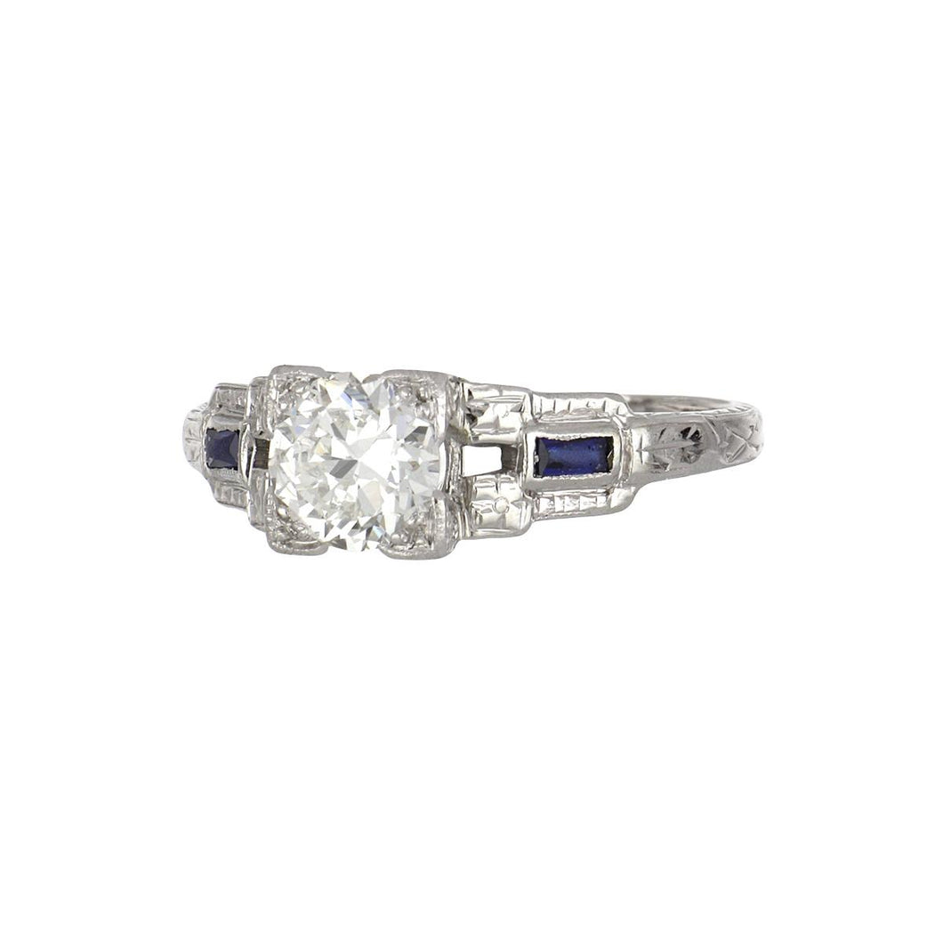 Art Deco 18K White Gold Illusion-Set Old European-Cut Diamond Engagement Ring with Sapphires