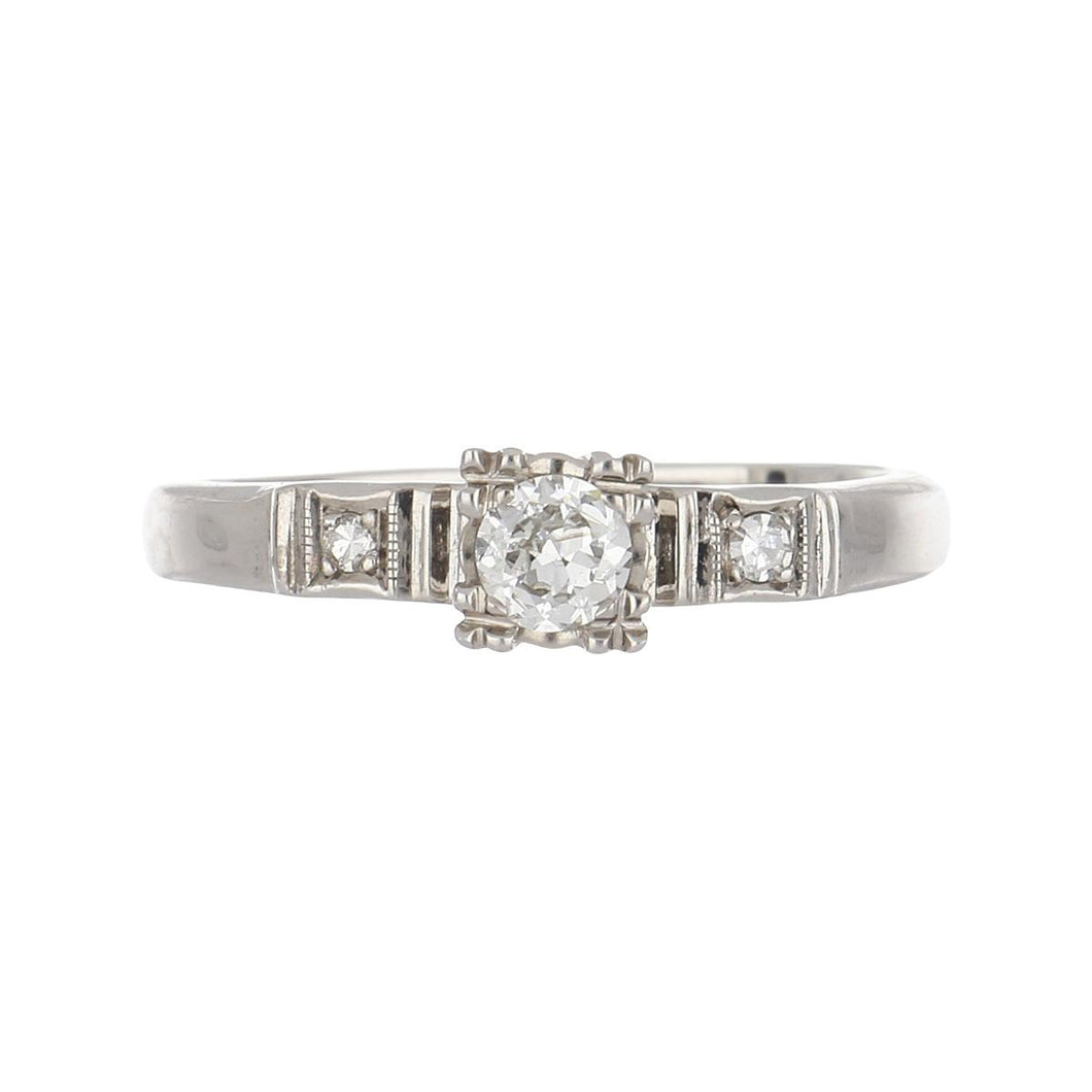 Art Deco 14K White Gold Illusion-Set Diamond Engagement Ring with Side Diamonds