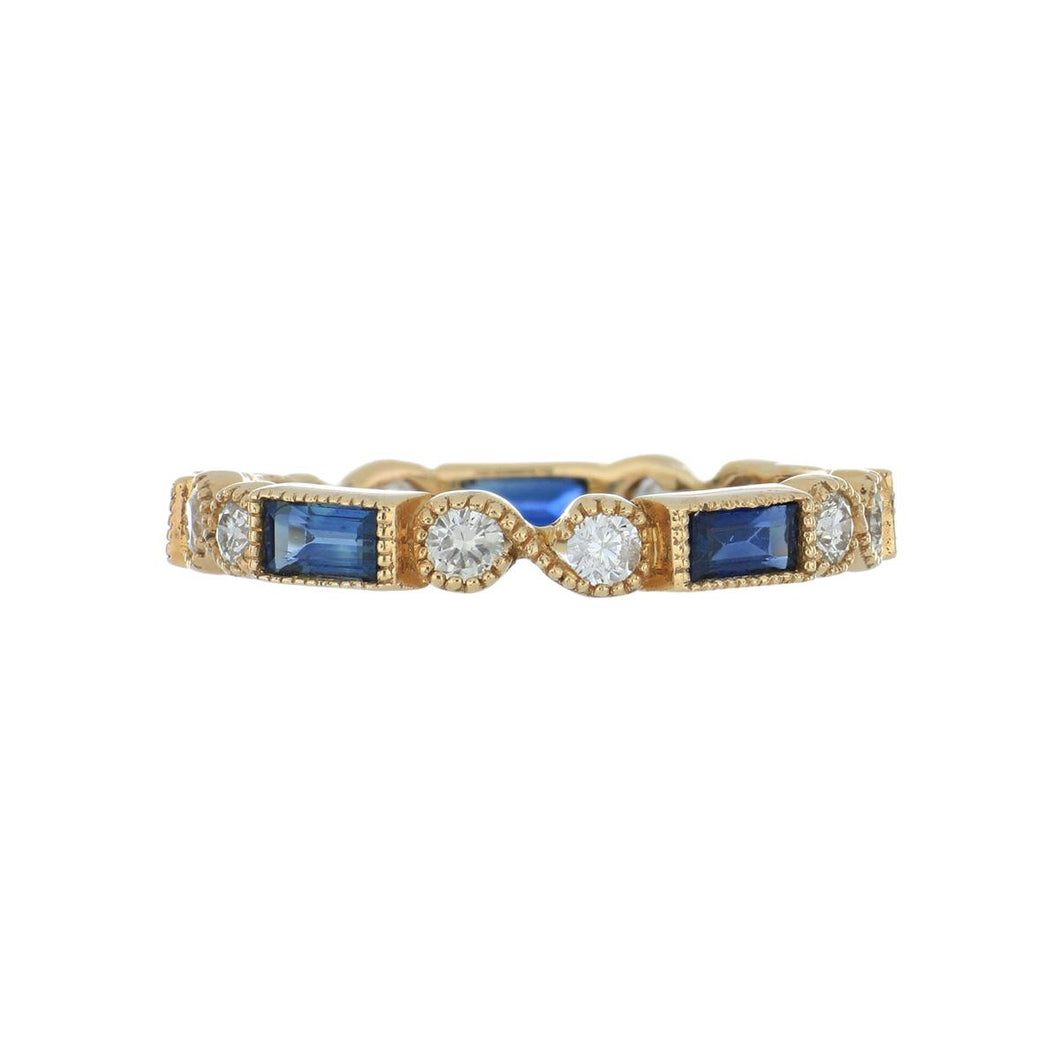 Estate 18K Rose Gold Diamond and Sapphire Band